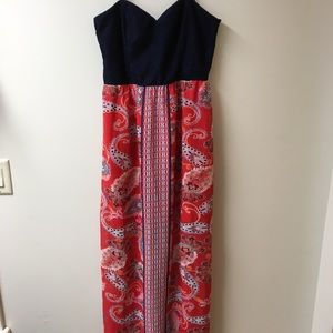 City Traingles strapless min/maxi dress size large